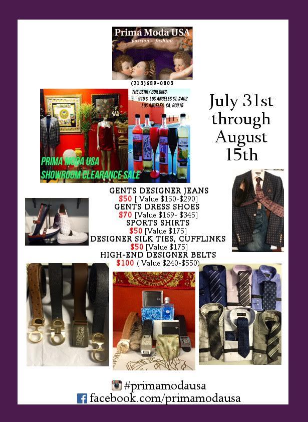 Prima Moda July 31 thru Aug 15